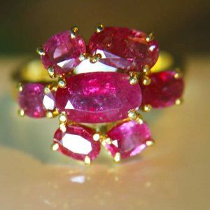 Tajik Ruby 5.68ct Solid 22K Yellow Gold Ring